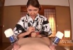 【長谷川みく】浴衣姿のコスプレ美女が乳首責めと寸止め手コキでM男をいじめる!