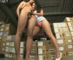 吉○洋似の美脚ボディコン痴女に倉庫で責めらられ乳首舐め手コキでイカされる!